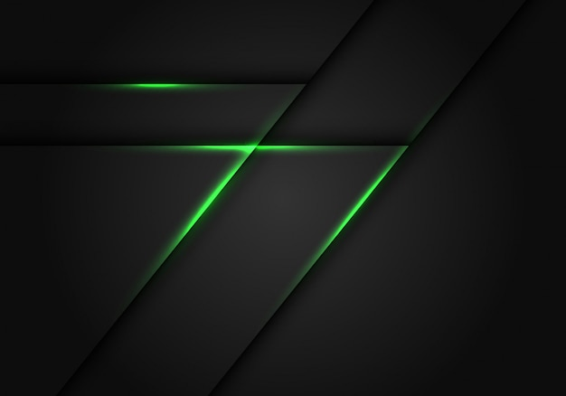 Ligne de lumière verte sur fond géométrique gris foncé.