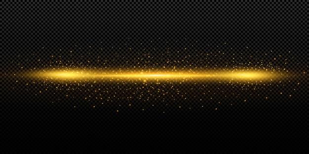 Ligne lumineuse avec des étincelles sur fond noir, effet de lumière, couleur dorée.