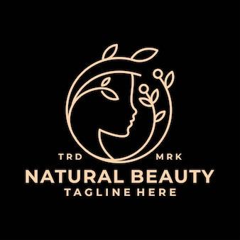 Ligne de luxe art beauté feuille salon logo vector