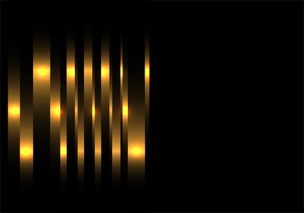 Ligne de luxe en or avec fond noir d'espace vide.