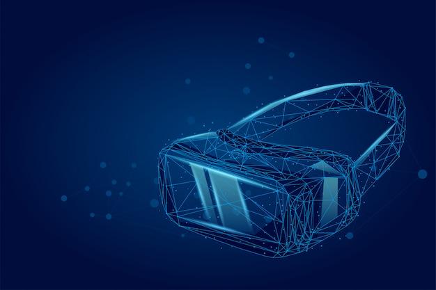 Ligne de mash abstraite et lunettes de réalité virtuelle de projection holographique de casque de point vr