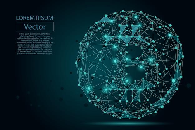 Ligne de mash abstraite et point bitcoin