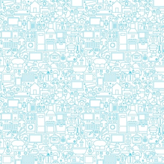 Ligne ménage blanc seamless pattern. illustration vectorielle de fond de contour.