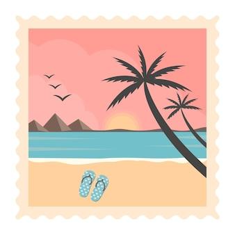 Ligne de mer de plage rétro et coucher de soleil - palmiers tropicaux vectoriels avec fond de paysage marin coloré