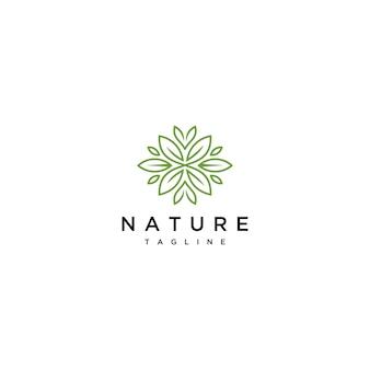Ligne minimaliste de conception dicône logo feuille verte