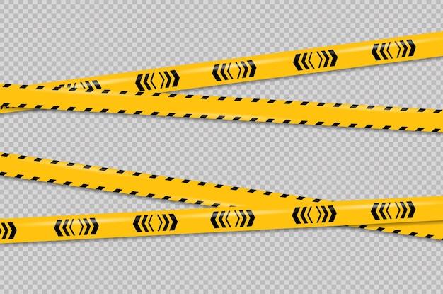Ligne de mise en garde et de danger bandes de police d'avertissement noires et jaunes ligne de signe d'attention