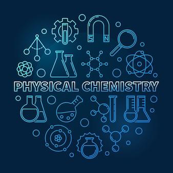 Ligne moderne bleu chimie physique icône ronde illustration