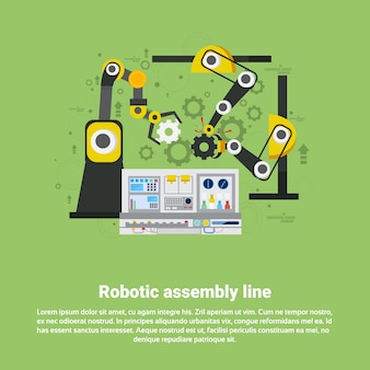 Ligne de montage robotique industrie de l'automatisation industrielle production web banner illustration vectorielle plane