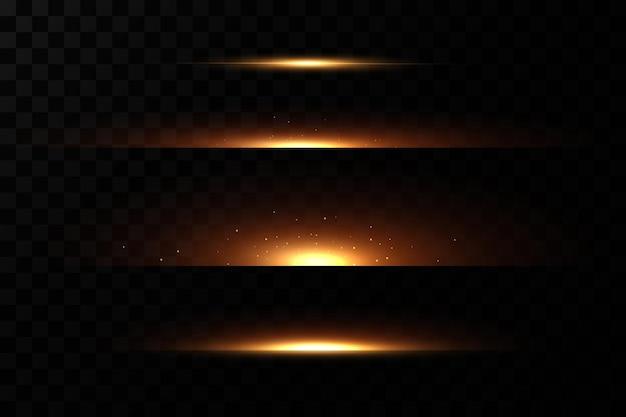 Ligne néon doré. effet de lumière.