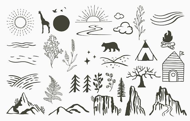Ligne noire naturelle avec montagne, rivière, arbre, soleil, ours, girafe