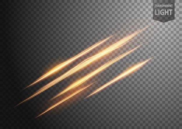 Ligne d'or abstrait de la lumière avec un fond transparent