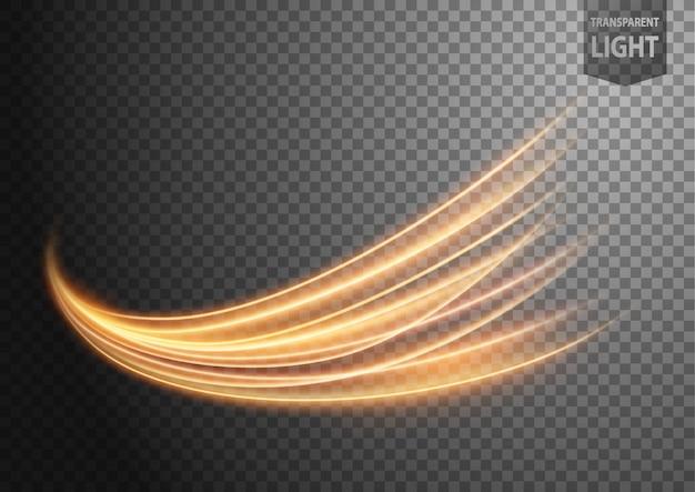 Ligne d'or ondulée abstraite de la lumière avec un fond transparent
