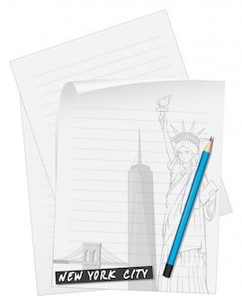 Ligne de papier avec un crayon bleu