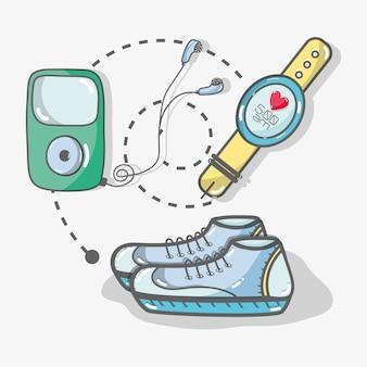 Ligne plate concept icône fitness