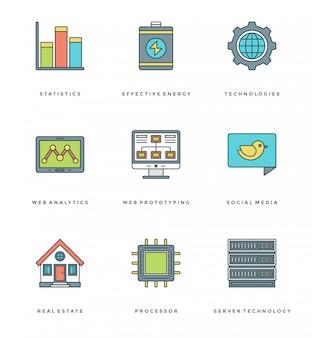 Ligne plate définie des icônes simples. course linéaire mince symboles des objets essentiels