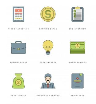 Ligne plate définie des icônes simples. icônes de traits linéaires minces notion d'objets essentials.