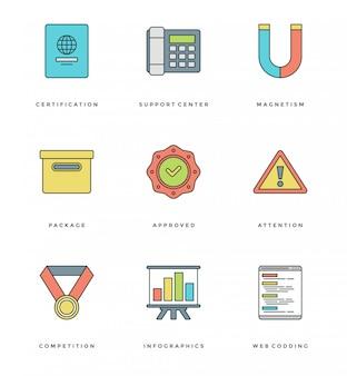 Ligne plate définie des icônes simples. vecteur de course linéaire mince symboles objets essentiels.