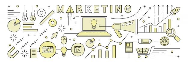 Ligne plate design avec couleurs plates. stratégie de marketing.