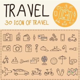 Ligne plate icône de voyage