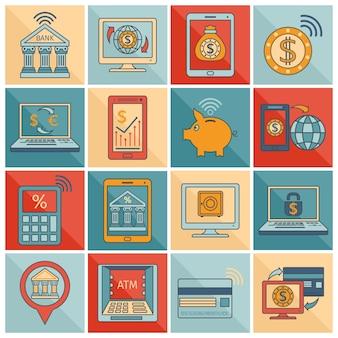 Ligne plate d'icônes bancaires mobiles