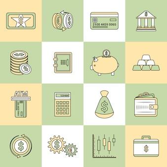 Ligne plate d'icônes de finances d'argent