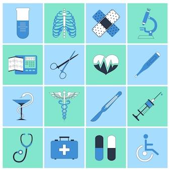 Ligne plate d'icônes médicales