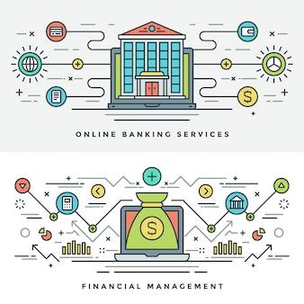 Ligne plate illustration de concept de gestion bancaire et financière