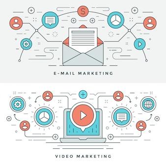Ligne plate illustration de concept de marketing par courriel et vidéo.