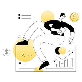 Ligne plate d'illustration de vecteurs d'affaires de recherche analytique