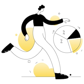 Ligne plate d'illustration de vecteurs d'affaires