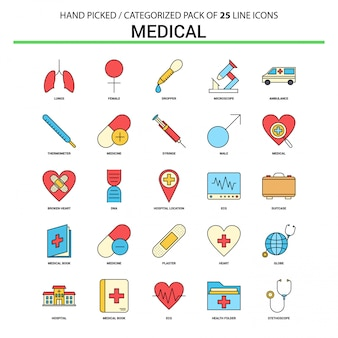 Ligne plate médicale icon set - business concept icons design