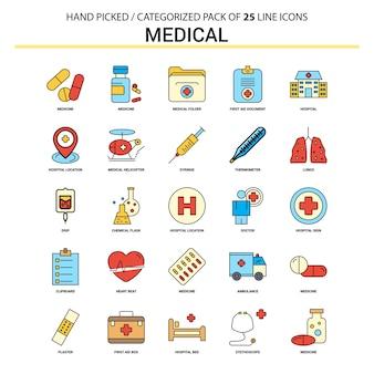 Ligne plate médicale icon set