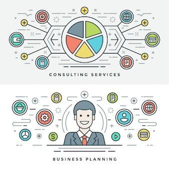 Ligne plate de planification et de conseil en affaires. illustration.