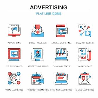 Ligne plate promo et ensemble d'icônes publicitaires