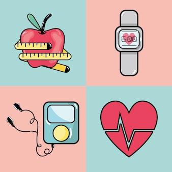 Ligne plate set fitness icône