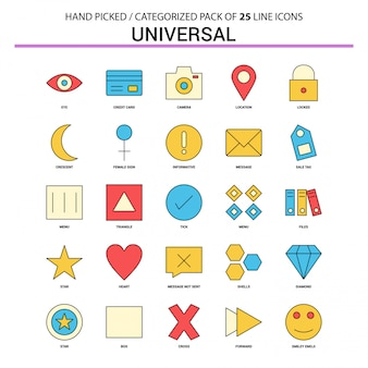 Ligne plate universelle icon set
