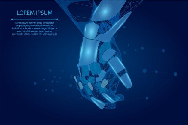 Ligne et point de purée, mains polygonales touchant la forme globale numérique.