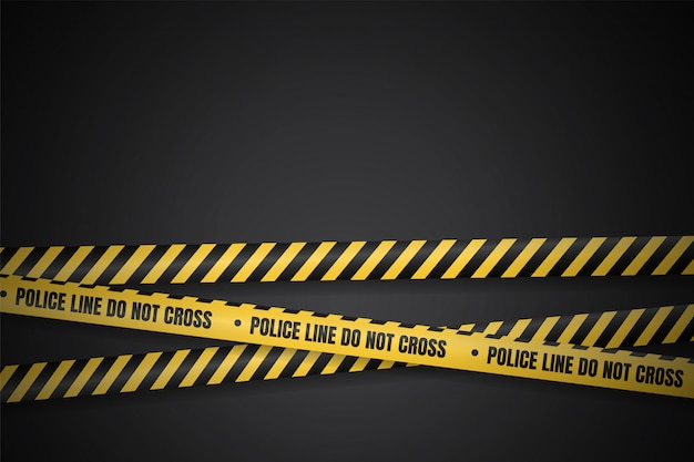 Ligne de police jaune et noire pour avertir des zones dangereuses, isoler dans l'obscurité