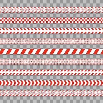 Ligne de police rouge ruban d'avertissement, danger, ruban d'avertissement. covid-19, mettre en quarantaine, arrêter, ne pas traverser, frontière fermée. barricade rouge et blanche. signes de danger. zone de quarantaine due au coronavirus. .