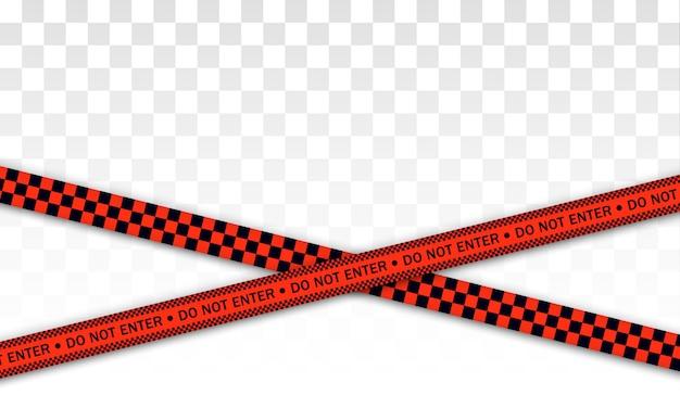 Ligne de police rouge ruban d'avertissement, danger, ruban d'avertissement. covid-19, mettre en quarantaine, arrêter, ne pas traverser, frontière fermée. barricade rouge et noire. zone de quarantaine due au coronavirus. signes de danger. vecteur.