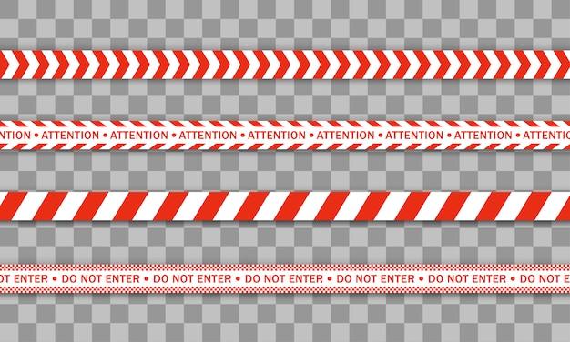 Ligne de police rouge ruban d'avertissement, danger, ruban de mise en garde. zone de quarantaine due au coronavirus. covid-19, mettre en quarantaine, arrêter, ne pas traverser, frontière fermée. barricade rouge et blanche. signes de danger. .