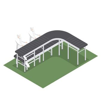Ligne de production automatisée avec bandes transporteuses pour la sélection de produits dans l'industrie alimentaire