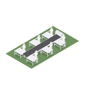 Ligne de production automatisée avec tapis roulant en génie alimentaire
