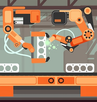 Ligne de production de convoyeurs d'assemblage de fabrication avec bras robotisé. notion de vecteur de l'industrie lourde