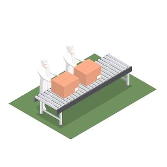 Ligne de production pour l'emballage de produits dans l'industrie alimentaire avec bande transporteuse