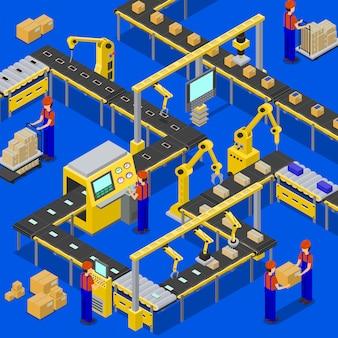 Ligne de production de travailleurs du tissu en uniforme faisant leur travail concernant l'emballage et le transport de boîtes illustration vectorielle