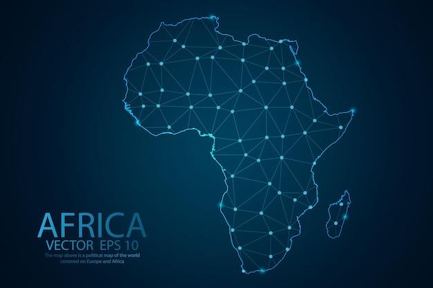Ligne de purée abstraite et échelles de points sur la carte de l'afrique. fil de fer 3d maillage ligne de réseau polygonale