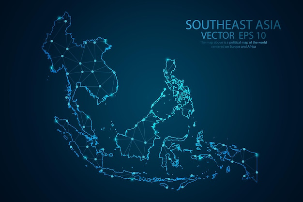 Ligne de purée abstraite et échelles de points sur la carte de l'asie du sud-est. fil de fer 3d maillage ligne de réseau polygonale