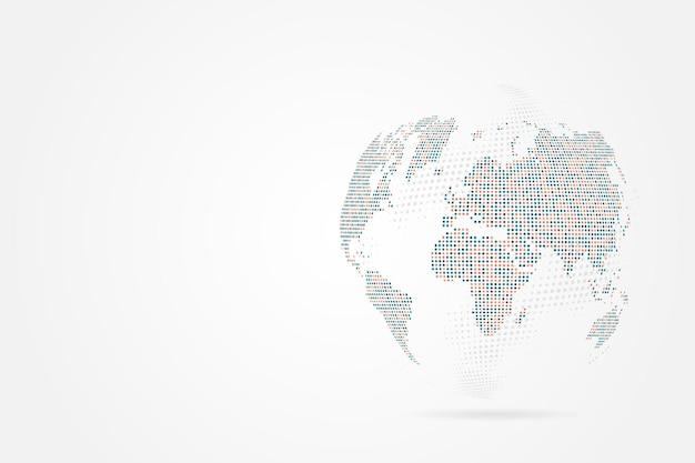 Ligne de purée abstraite et échelles de points sur fond blanc avec global. réseau maillé 3d filaire.