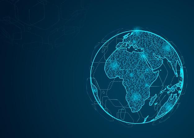 Ligne de purée abstraite et échelles de points sur fond sombre avec map world global. réseau polygonal